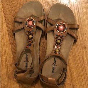 Minnetonka sandals. Worn once. Light tan. Size 9